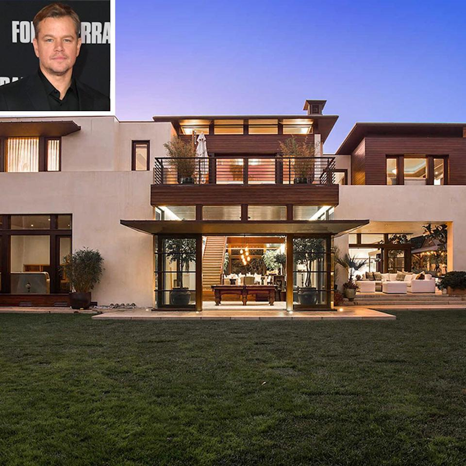 """<p><strong>Location:</strong> Los Angeles, Calif.</p> <p>Also in January, the <em>Good Will Hunting</em> actor, 50, put his Pacific Palisades-area residence on the market for $21 million.</p> <p>The 13,508-square-foot home is located on one of the area's most desirable streets, according to the listing, and boasts seven bedrooms and 10 baths.</p> <p>Sitting on over half an acre, the home is surrounded by lush greenery and is one of the largest properties in the celebrity-favorite Upper Riviera neighborhood.</p> <p><a href=""""https://people.com/home/matt-damon-lists-pacific-palisades-home-21-million/"""" rel=""""nofollow noopener"""" target=""""_blank"""" data-ylk=""""slk:See more photos of Matt Damon's home."""" class=""""link rapid-noclick-resp"""">See more photos of Matt Damon's home.</a></p>"""