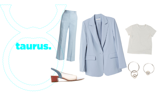 "<p>For Taurus, spring 2018 is the best time to mix things up and work toward your goals. You're no stranger when it comes to persistence and determination, so it's a no-brainer that you should amp up your power suit game this season. Bonus points if you opt for pastel colors like <a href=""https://www.vogue.com/fashion-shows/spring-2018-ready-to-wear/victoria-beckham/slideshow/collection#19"" rel=""nofollow noopener"" target=""_blank"" data-ylk=""slk:Victoria Beckham"" class=""link rapid-noclick-resp"">Victoria Beckham</a>'s spring/summer '18 collection.<br><br>H&M, Single-Breasted Blazer, $50, <a href=""http://www.hm.com/us/product/00476?article=00476-B"" rel=""nofollow noopener"" target=""_blank"" data-ylk=""slk:hm.com"" class=""link rapid-noclick-resp"">hm.com</a><br> Stella McCartney, Straight-Leg Trousers, $610, <a href=""https://www.matchesfashion.com/us/products/1184882?LGWCODE=1184882000002;104037;6167&qxjkl=tsid:57534&utm_source=polyvore&utm_medium=affiliation&utm_campaign=us&utm_term=pants"" rel=""nofollow noopener"" target=""_blank"" data-ylk=""slk:matchesfashion.com"" class=""link rapid-noclick-resp"">matchesfashion.com</a><br> Urban Outfitters, The Little Brother Tee, $20, <a href=""https://www.urbanoutfitters.com/shop/uo-the-little-brother-tee?category=womens-t-shirts&color=010"" rel=""nofollow noopener"" target=""_blank"" data-ylk=""slk:urbanoutfitters.com"" class=""link rapid-noclick-resp"">urbanoutfitters.com</a><br> Creatures of Comfort, Gloria Heel, $395,<a href=""http://needsupply.com/womens/shoes/gloria-heel-in-storm-blue.html"" rel=""nofollow noopener"" target=""_blank"" data-ylk=""slk:needsupply.com"" class=""link rapid-noclick-resp""> needsupply.com</a><br> Justine Clenquet, Lana Hoops, $55.45, <a href=""http://justineclenquet.com"" rel=""nofollow noopener"" target=""_blank"" data-ylk=""slk:justineclenquet.com"" class=""link rapid-noclick-resp"">justineclenquet.com</a> </p>"
