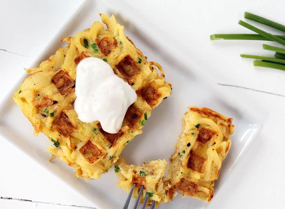 parsnip and chive waffle on plate