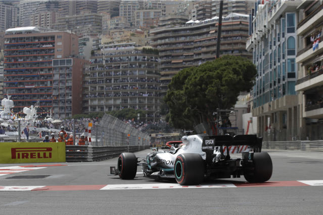 Mercedes driver Lewis Hamilton of Britain steers his car during the qualifying session at the Monaco racetrack, in Monaco, Saturday, May 25, 2019. The Formula one race will be held on Sunday. (AP Photo/Luca Bruno)