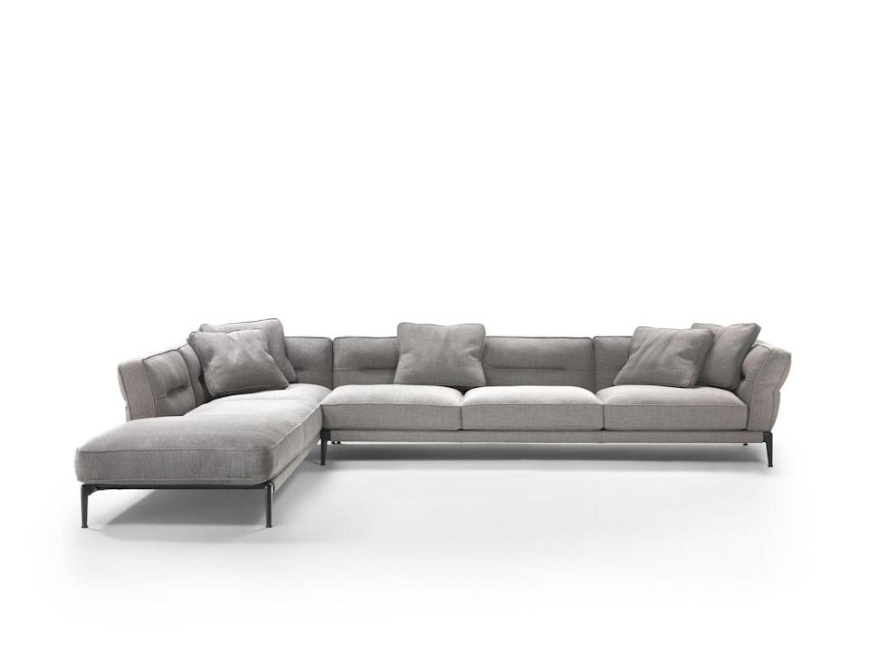 "<p>Lightweight, but cosy, with its cushions generously-packed with goose down, this sectional sofa by Antonio Citterio is simple but effortlessly charming, with the unique horizontal stitching detail on the cushions resembling dimples. £6,442, <a href=""https://www.flexform.it/en/products/sofas-sectional-sofas/adda#gref"" rel=""nofollow noopener"" target=""_blank"" data-ylk=""slk:flexform.it"" class=""link rapid-noclick-resp"">flexform.it</a></p>"