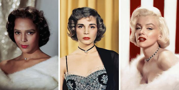 You may associate chokers with music festival season, but these close-fitting necklaces are a simple, elegant way to finish off an outfit. Plus, they come in plenty of varieties, as seen here on Dorothy Dandridge, Lizabeth Scott and Marilyn Monroe.