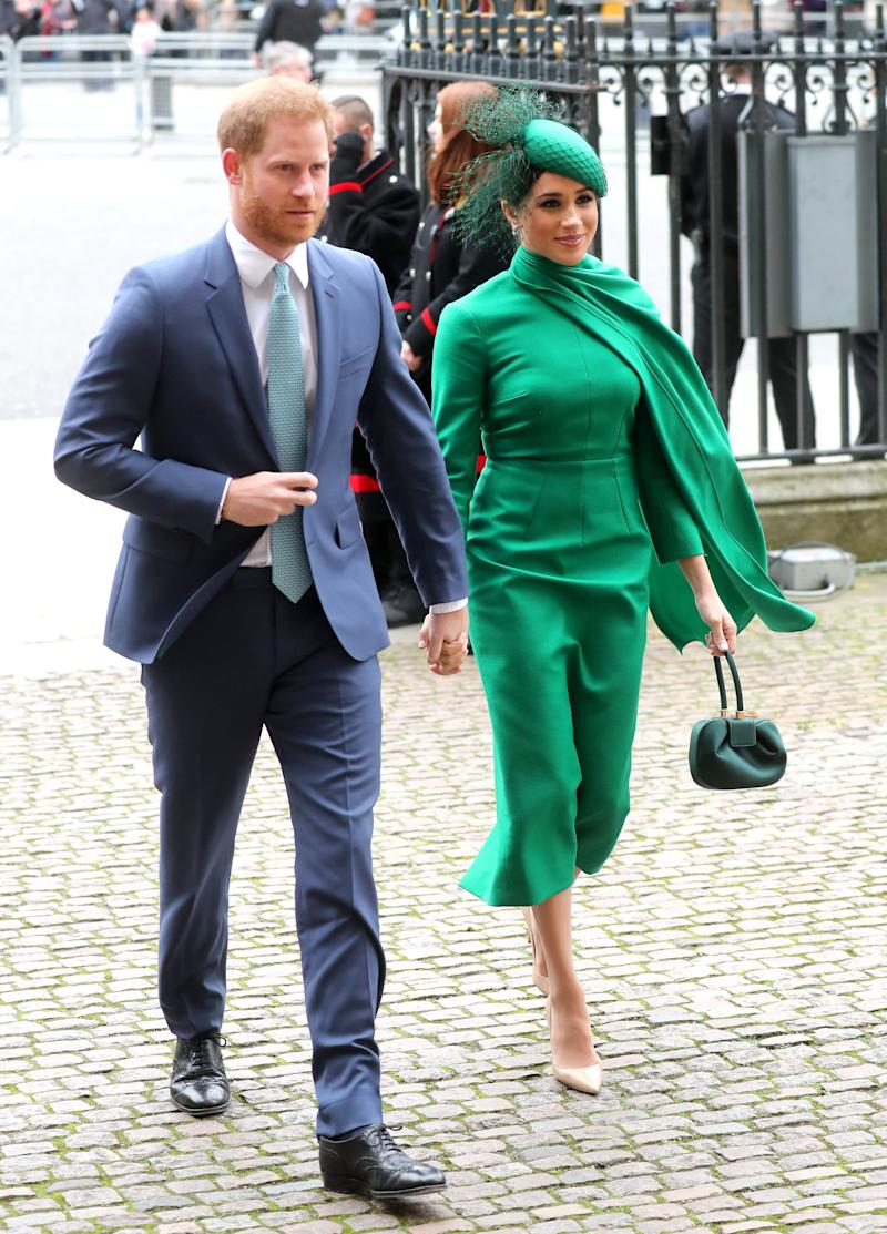 The Duke and Duchess of Sussex enter Westminster Abbey for the Commonwealth Service on Monday, March 9, 2020. (Photo: Chris Jackson via Getty Images)