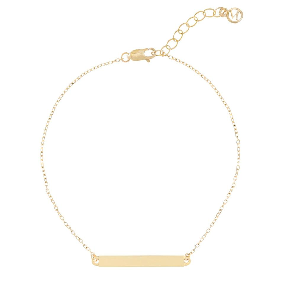 """It's hard to go wrong with an engraved piece of jewelry, and for the mom who loves her baubles, add this 14k solid gold bracelet into the mix, It has a sleek, minimal design and you can engrave up to ten letters—which is the perfect opportunity to include an inside joke you have, or a lovable nickname. $190, Mejuri. <a href=""""https://mejuri.com/shop/products/engravable-bar-bracelet"""">Get it now!</a>"""