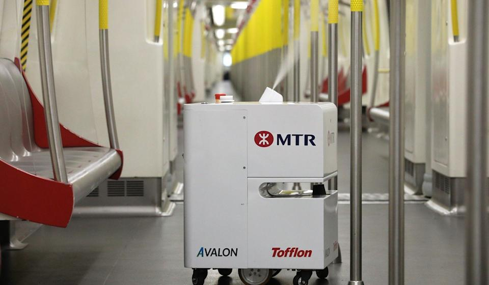 "A ""vaporised hydrogen peroxide robot"", sprays down the interior of an MTR train amid the battle with the deadly coronavirus. Photo: Dickson Lee"