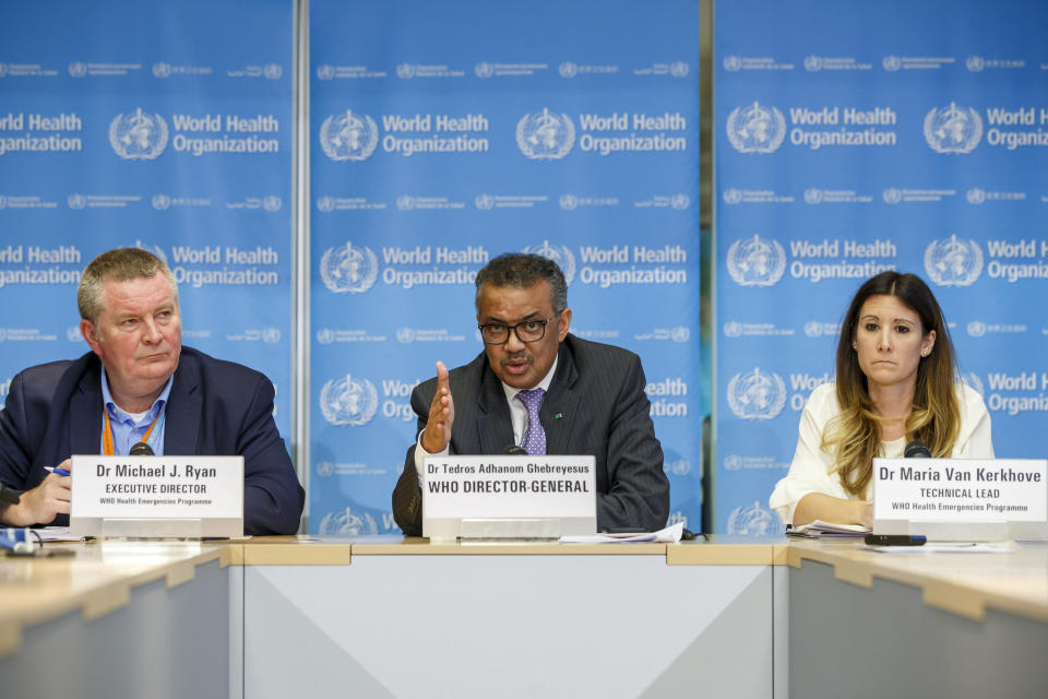 From the World Health Organization, pictured here in March, from left: Michael Ryan, Tedros Adhanom Ghebreyesus and Maria van Kerkhove, who made the statement. (Salvatore Di Nolfi/Keystone via AP)
