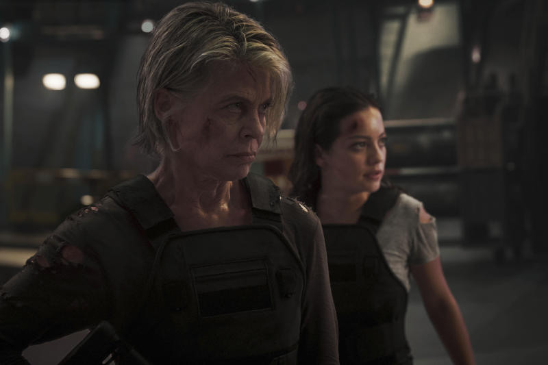 "This image released by Paramount Pictures shows Linda Hamilton, left, and Natalia Reyes in ""Terminator: Dark Fate."" (Kerry Brown/Paramount Pictures via AP)"