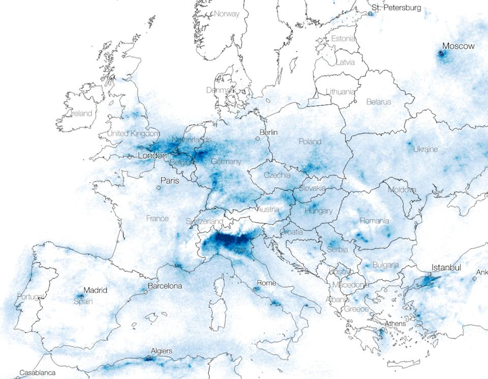 Satellite images show nitrogen dioxide(NO2) concentrations from 10 March to 22 March, 2020 across Europe: Descartes Labs