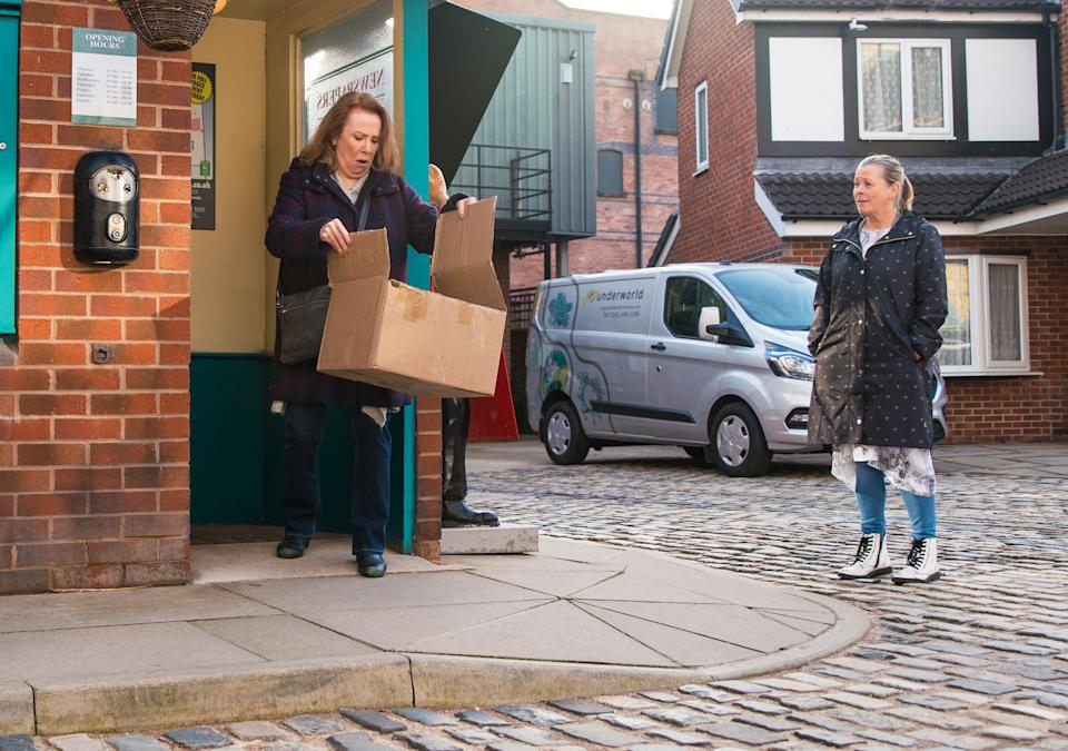 FROM ITV  STRICT EMBARGO - No Use Before Tuesday 6th April 2021  Coronation Street - Ep 10297  Monday 12th April 2021 - 1st Ep  As Brian Packham [PETER GUNN], Cathy Matthews [MELANIE HILL] and Bernie Winter [JANE HAZLEGROVE] head back from lunching at Speed Daal, Cathy gets a call from Dev telling her that it would be best if she stayed away from the kebab shop for a while until the customers forget what she's done. Cathy's further upset when she finds a parcel on the Kabin doorstep containing a funeral wreath.  Picture contact David.crook@itv.com   Photographer - Danielle Baguley  This photograph is (C) ITV Plc and can only be reproduced for editorial purposes directly in connection with the programme or event mentioned above, or ITV plc. Once made available by ITV plc Picture Desk, this photograph can be reproduced once only up until the transmission [TX] date and no reproduction fee will be charged. Any subsequent usage may incur a fee. This photograph must not be manipulated [excluding basic cropping] in a manner which alters the visual appearance of the person photographed deemed detrimental or inappropriate by ITV plc Picture Desk. This photograph must not be syndicated to any other company, publication or website, or permanently archived, without the express written permission of ITV Picture Desk. Full Terms and conditions are available on  www.itv.com/presscentre/itvpictures/terms