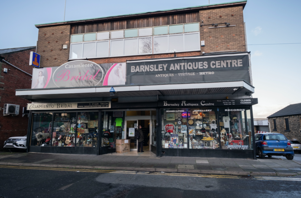 The incident happened at Mari's son, Daniel's, antique shop, Barnsley Antiques Centre (SWNS)