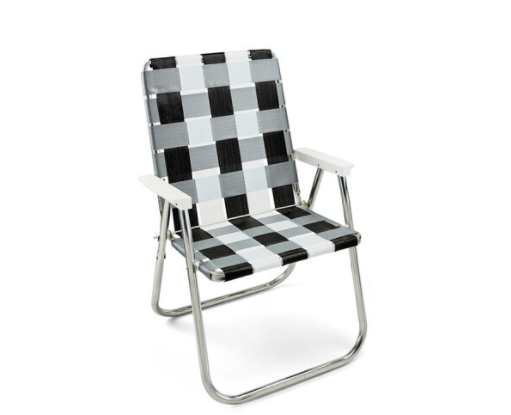 """<p>moma.org</p><p><strong>$70.00</strong></p><p><a href=""""https://store.moma.org/for-the-home/home/furniture/chairs/classic-lawn-chair/11001-150000.html"""" rel=""""nofollow noopener"""" target=""""_blank"""" data-ylk=""""slk:Sit a Spell"""" class=""""link rapid-noclick-resp"""">Sit a Spell</a></p><p>It's rare to come across a retro-y lawn chair in a neutral colorway, which is why we're pleased as punch to park our posteriors in this graphic, gingham-like pick. </p>"""