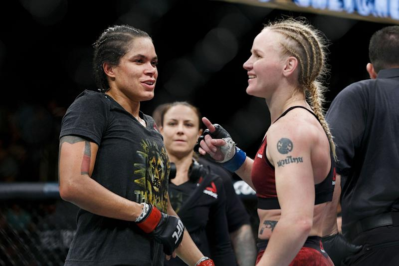 EDMONTON, AB - SEPTEMBER 09: Amanda Nunes, left, talks to opponent Valentina Shevchenko as they await a decision during UFC 215 at Rogers Place on September 9, 2017 in Edmonton, Canada. (Photo by Codie McLachlan/Getty Images)
