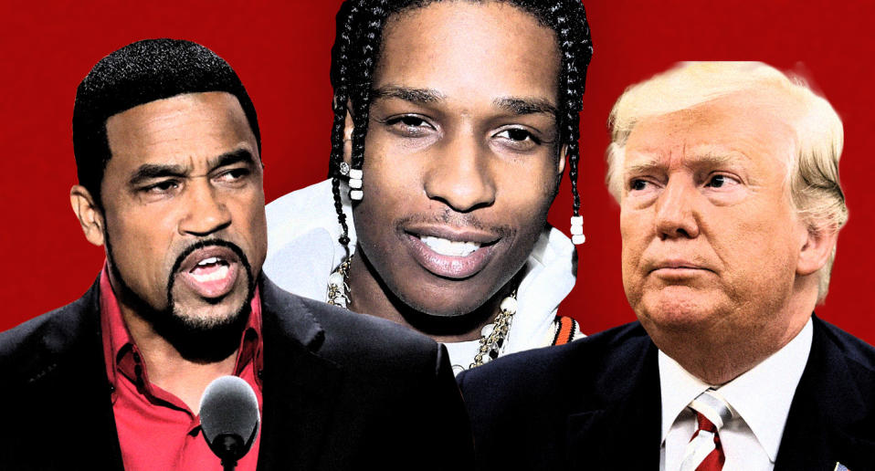 Pastor Darrell Scott, A$AP Rocky and President Donald Trump. (Photo illustration: Yahoo News; photos: J. Scott Applewhite/AP, Victor Boyko/Getty Images, AP)