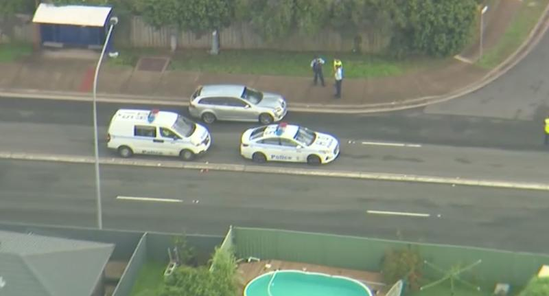 Police attend the scene of the incident. Source: Nine News