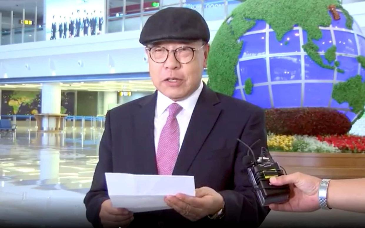 Choe In-guk gave a statement to media as he arrived in the North to permanently resettle - Uriminzokkiri