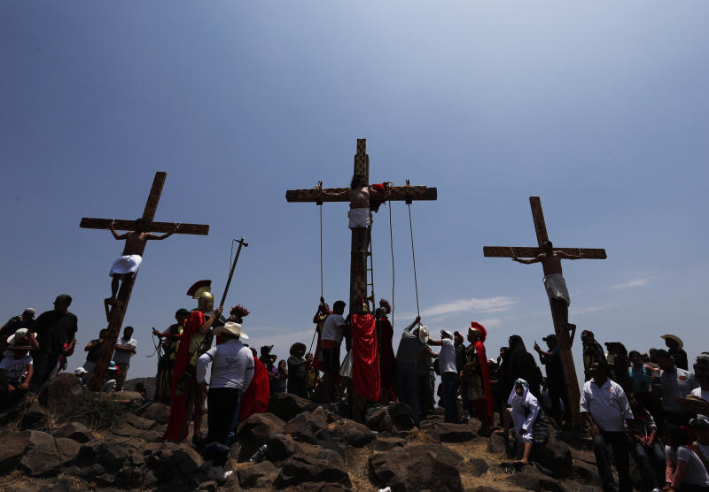 Crosses set up on a hill outside the village of San Mateo, Tepotzotlán, on Good Friday. (Marco Ugarte / ASSOCIATED PRESS)