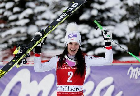 Alpine Skiing - Women's Alpine Skiing World Cup Super G - Val d´Isere, France - December 17, 2017 Austria's Anna Veith celebrates after finishing first in the Women's Super G REUTERS/Robert Pratta