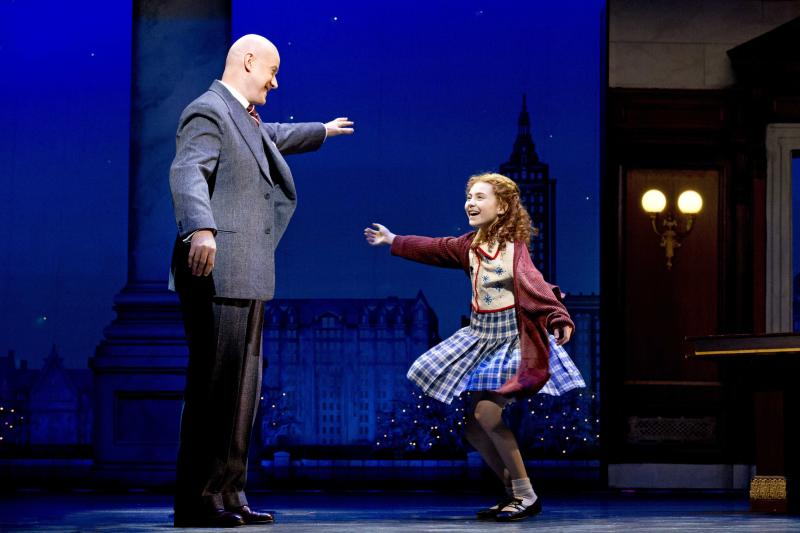"This theater image released by Boneau/Bryan-Brown shows Anthony Warlow as Daddy Warbucks, left, with Lilla Crawford in the title role of the musical ""Annie,"" in New York. Warlow first played Warbucks in 2000 and then again beginning in late 2011, both in Australia. Now he makes his Broadway debut on Nov. 8.  (AP Photo/Boneau/Bryan-Brown, Joan Marcus)"
