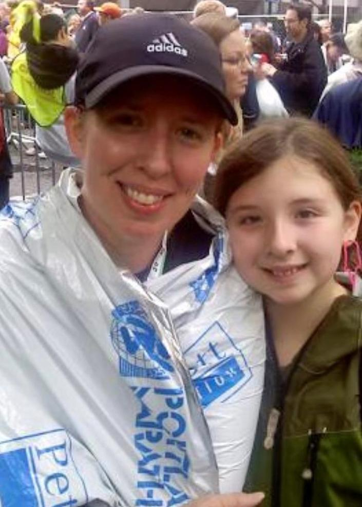 Amy Watson, seen here after finishing the 2010 Portland Marathon, now can barely walk a mile without becoming short of breath. (Courtesy of Amy Watson)