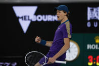 Italy's Jannik Sinner reacts after winning a point against Canada's Denis Shapovalov during the first round match at the Australian Open tennis championship in Melbourne, Australia, Monday, Feb. 8, 2021. (AP Photo/Rick Rycroft)