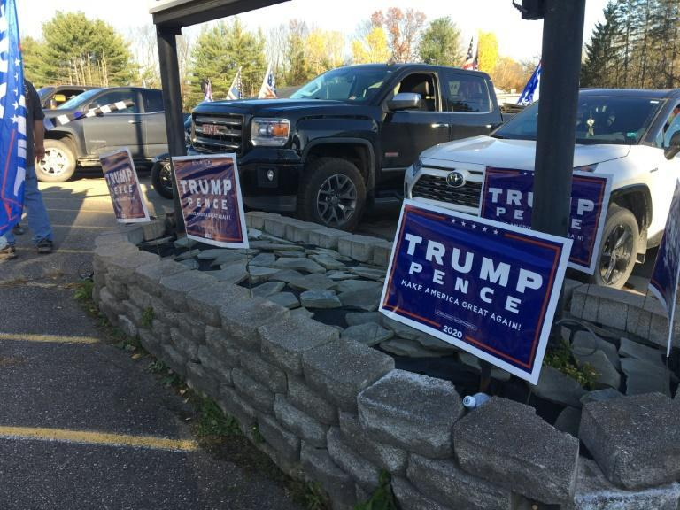 Trump-Pence signs outside Jones Diner in Towanda, Pennsylvania