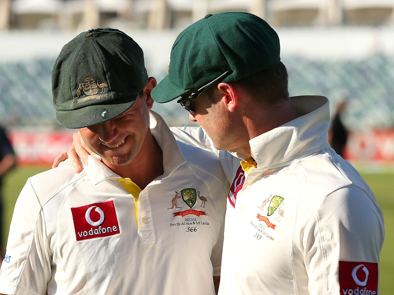 PERTH, AUSTRALIA - DECEMBER 03:  Ricky Ponting and Michael Clarke of Australia share a moment after being defeated by South Africa during day four of the Third Test Match between Australia and South Africa at WACA on December 3, 2012 in Perth, Australia.  (Photo by Paul Kane/Getty Images)