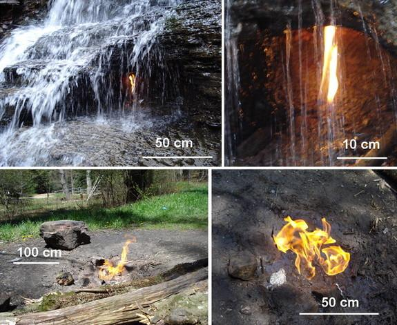 The eternal flame behind the veil of a waterfall in Chestnut Ridge County Park in New York State (top) and in Cook Forest State Park in northwestern Pennsylvania (bottom).