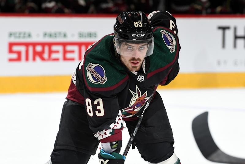 Conor Garland #83 of the Arizona Coyotes