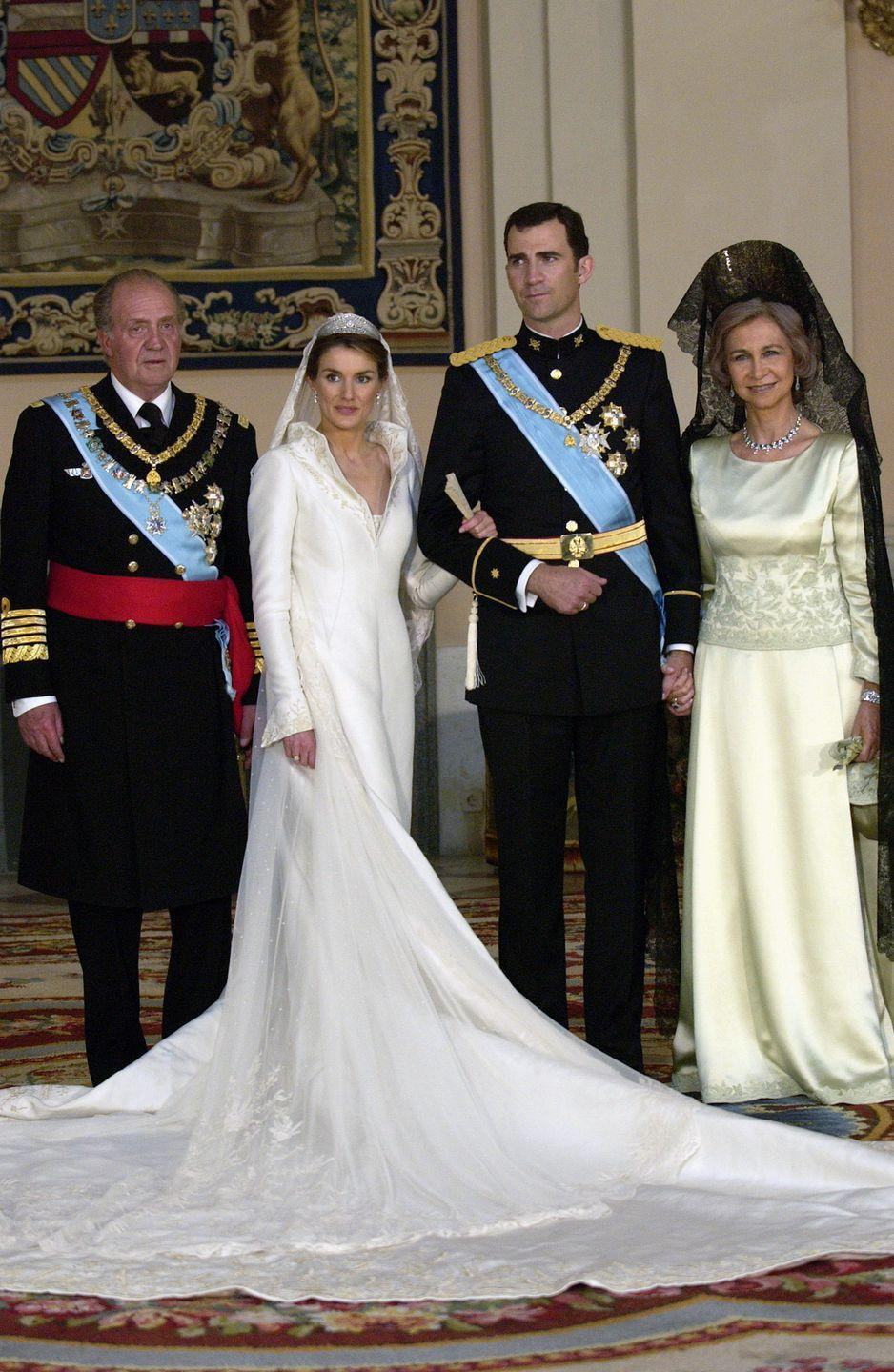 <p><strong>When: </strong>May 22, 2004 </p><p><strong>Where: </strong>The Cathedral Santa María la Real de la Almudena in Madrid</p><p><strong>Cost: </strong>£6 million</p><p><strong>Designer: </strong>Royal couturier Manuel Pertegaz</p><p><strong>Most royal detail: </strong>The real gold thread embroidery woven into the silk.</p>