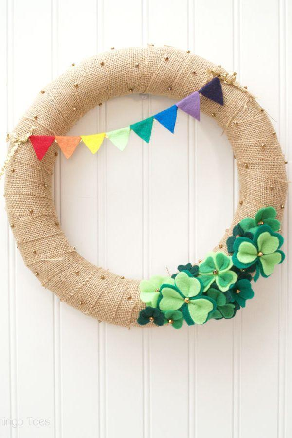"""<p>We love this lucky burlap wreath dotted with glitter and festooned in felt. </p><p><strong>Get the tutorial at <a href=""""https://flamingotoes.com/2014/02/lucky-shamrocks-st-patricks-day-wreath/"""" rel=""""nofollow noopener"""" target=""""_blank"""" data-ylk=""""slk:Flamingo Toes"""" class=""""link rapid-noclick-resp"""">Flamingo Toes</a>.</strong> </p>"""