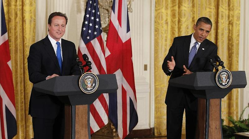 FILE – In this July 20, 2010, file photo President Barack Obama and British Prime Minister David Cameron, left, speak at a joint news conference in the East Room of the White House in Washington. Obama is welcoming Cameron again to the White House Monday, May 13, 2013, for talks on subjects ranging from Syria's civil war to preparations for the June 17-19 summit of the world's leading industrial nations in Northern Ireland. (AP Photo/Charles Dharapak, File)