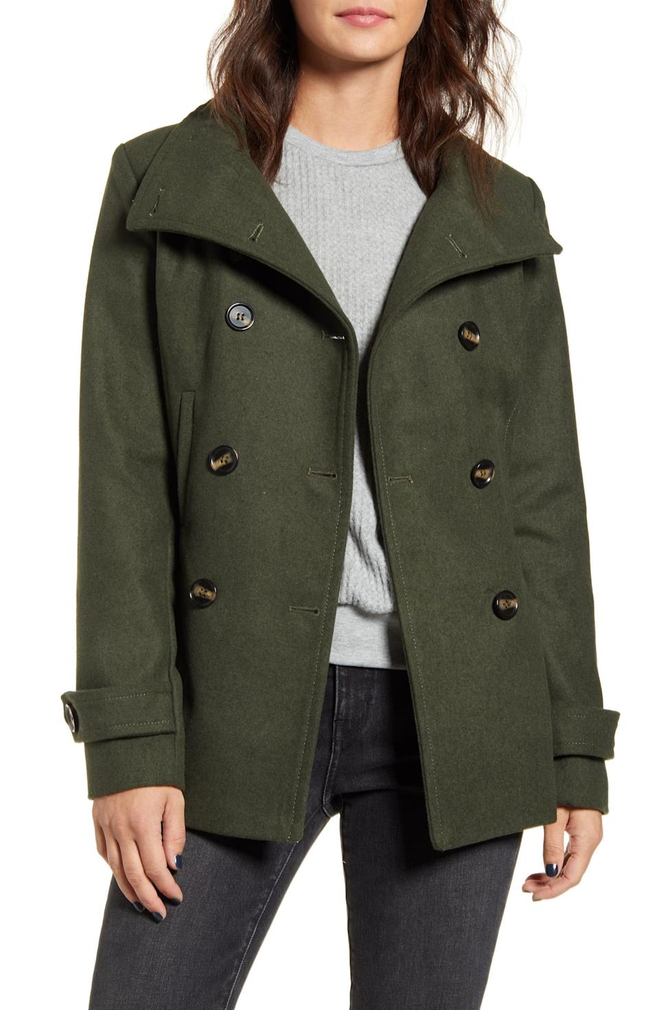 Thread & Supply Double Breasted Peacoat in Olive. Image via Nordstrom.