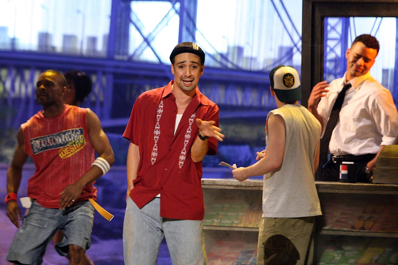 """<p>Miranda's first Broadway smash came in 2008, when he wrote and starred in the Tony-winning musical <strong>In the Heights</strong>, centered on a single week in <a href=""""https://www.popsugar.com/latina/Heights-Movie-Great-Latinx-Representation-46069661"""" class=""""ga-track"""" data-ga-category=""""Related"""" data-ga-label=""""http://www.popsugar.com/latina/Heights-Movie-Great-Latinx-Representation-46069661"""" data-ga-action=""""In-Line Links"""">the lives of the Latino neighborhoods</a> of Washington Heights.</p>"""