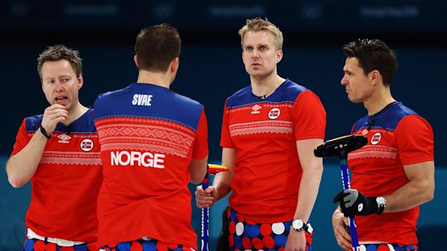 <p>Havard Vad Petersson, Christoffer Svae, Thomas Ulsrud and Torger Nergard of Norway compete in the Curling Men's Round Robin Session 4 held at Gangneung Curling Centre on February 16, 2018 in Gangneung, South Korea. </p>