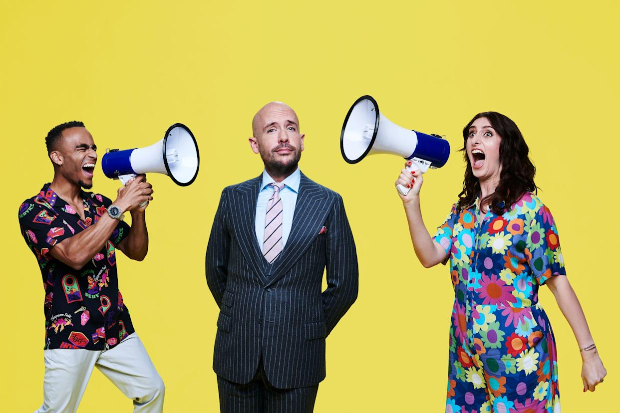 Pictured: Complaints Welcome presenters (L-R) Munya Chawawa, Tom Allen and Jessica Knappett.