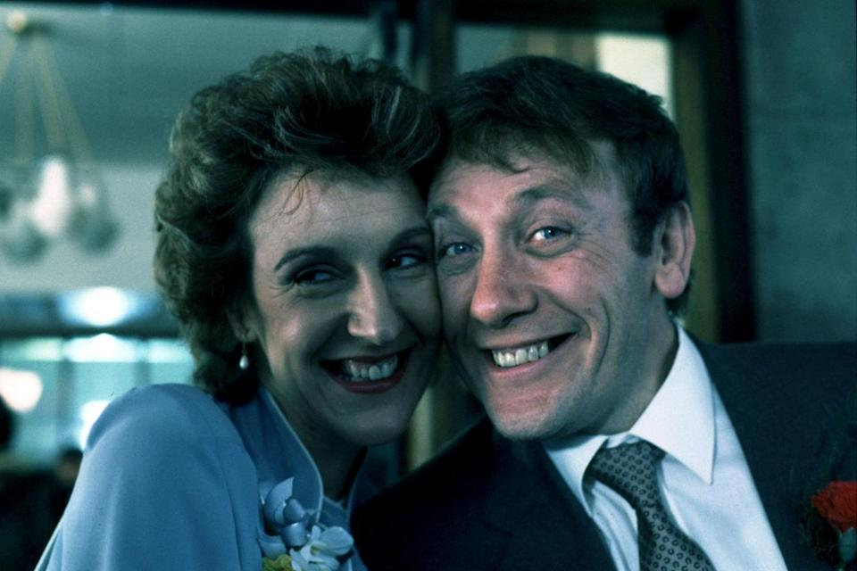 Wedding bells: Judy Gridley as Elaine Prior on her wedding day to Bill Webster on Coronation Street
