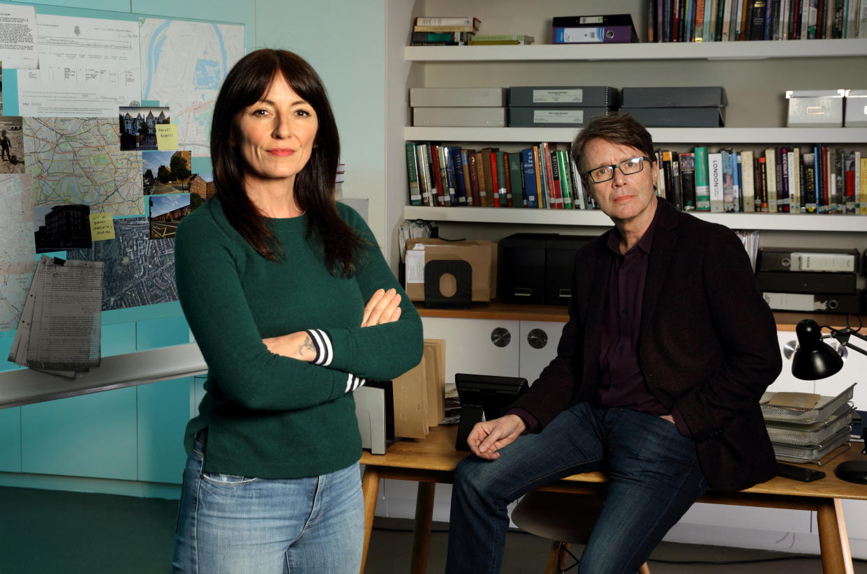 EMBARGOED PICTURE: FOR PUBLICATION FROM  TUESDAY 7TH SEPTEMBER 2021  From Wall To Wall Productions   LONG LOST FAMILY: BORN WITHOUT TRACE WHAT HAPPENED NEXT Tuesday 14th September 2021 on ITV  Pictured: Presenters Davina McCall and Nicky Campbell  Born without a trace, foundlings are people abandoned as babies who have had no way of unlocking the truth about their past.  Over the past four years weÕve been helping 30 foundlings from across the UK discover their identities Ð through DNA and detective work, our expert team have found birth family for some of them and answers for many, but these answers are often not the end of the storyÉ  Eighteen months ago, DNA revealed that foundlings Helen and David, left as newborns on either side of the Irish border, were full brother and sister Ð now further research shows their story of extraordinary family secrets is far from over.     (C) ITV   Photographer Tony Ward   For further information please contact Peter Gray Mob 07831460662 /  peter.gray@itv.com  This photograph is (C) ITV and can only be reproduced for editorial purposes directly in connection with the programme LONG LOST FAMILY: BORN WITHOUT TRACE WHAT HAPPENED NEXT or ITV. Once made available by the ITV Picture Desk, this photograph can be reproduced once only up until the Transmission date and no reproduction fee will be charged. Any subsequent usage may incur a fee. This photograph must not be syndicated to any other publication or website, or permanently archived, without the express written permission of ITV Picture Desk. Full Terms and conditions are available on the website www.itvpictures.com