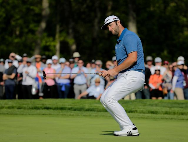 "<a class=""link rapid-noclick-resp"" href=""/pga/players/18796/"" data-ylk=""slk:Jon Rahm"">Jon Rahm</a> was caught in an unfortunate act at the PGA Championship at Bethpage Black in Farmingdale, N.Y. (AP Photo/Seth Wenig)"