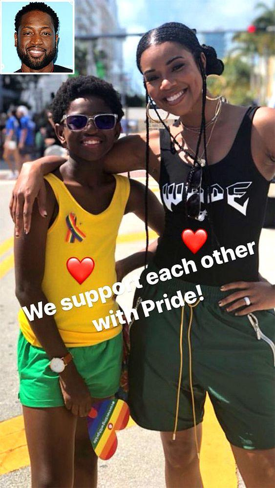 Gabrielle Union with Zion | Dwayne Wade/Instagram; Inset: Jason LaVeris/FilmMagic