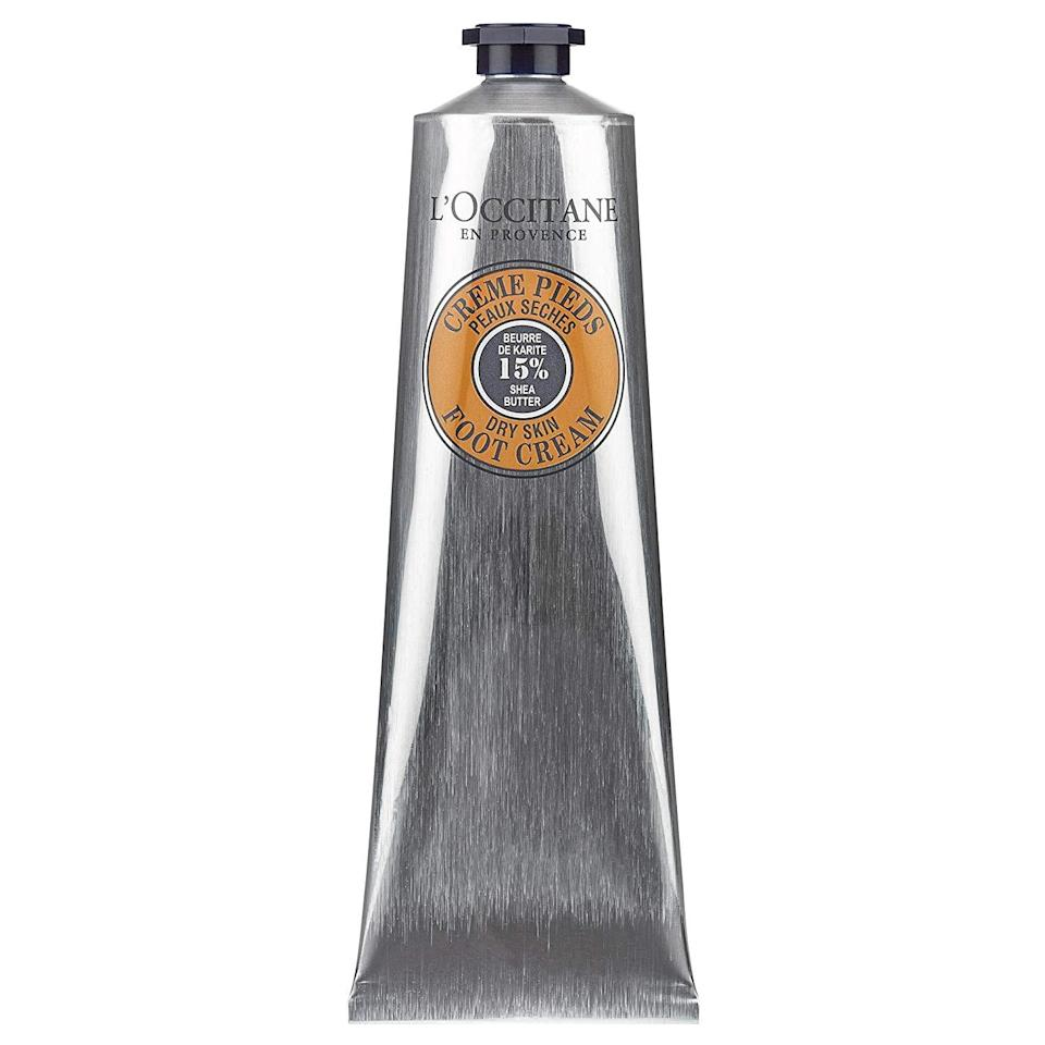 """<h3><strong>L'Occitane</strong> Shea Butter Foot Cream</h3><br>At long last, a foot cream in a chic container. This lavender-scented option deeply moisturizes the skin with shea butter and coconut oil while addressing redness and irritation thanks to its other key ingredient: arnica, a natural skin healer.<br><br><strong>L'Occitane</strong> Shea Butter Foot Cream, $, available at <a href=""""https://go.skimresources.com/?id=30283X879131&url=https%3A%2F%2Fusa.loccitane.com%2Fshea-butter-foot-cream%2C82%2C1%2C29193%2C261662.htm"""" rel=""""nofollow noopener"""" target=""""_blank"""" data-ylk=""""slk:L'Occitane"""" class=""""link rapid-noclick-resp"""">L'Occitane</a>"""