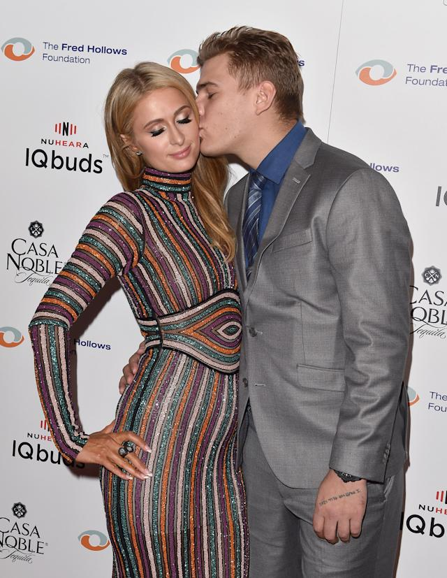 Paris Hilton and Chris Zylka, pictured on Nov.15, are engaged. (Photo: Gabriel Olsen/FilmMagic)