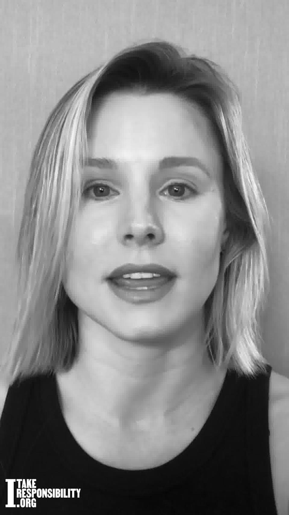 """Kristen Bell (pictured), Aaron Paul, Aly Raisman, Stanley Tucci and other stars appear in the new """"I Take Responsibility"""" PSA. (Confluential Content)"""