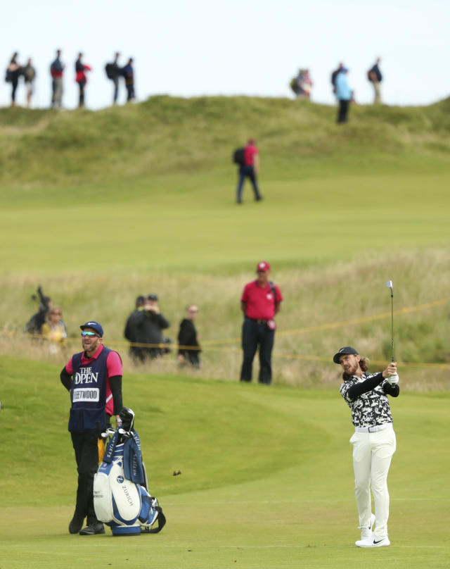 England's Tommy Fleetwood plays from the 9th fairway during the second round of the British Open Golf Championships at Royal Portrush in Northern Ireland, Friday, July 19, 2019.(AP Photo/Jon Super)