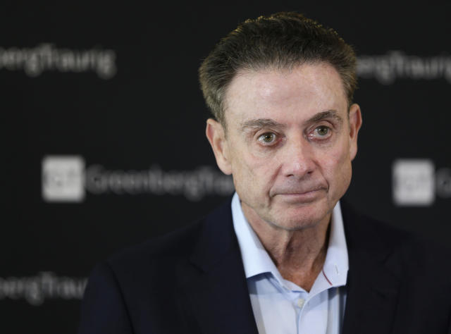 FILE - In this Feb. 21, 2018, file photo, former Louisville basketball Hall of Fame coach Rick Pitino talks to reporters during a news conference in New York. Louisville has received a notice of allegations from the NCAA that accuses the mens basketball program of committing a Level I violation with an improper recruiting offer and extra benefits and several Level II violations that accuse former Cardinals coach Rick Pitino of failing to promote an atmosphere of compliance. The notice released on Monday, May 4, 2020, is the completion of a two-year NCAA investigation following a federal corruption probe into college basketball.(AP Photo/Seth Wenig, File)