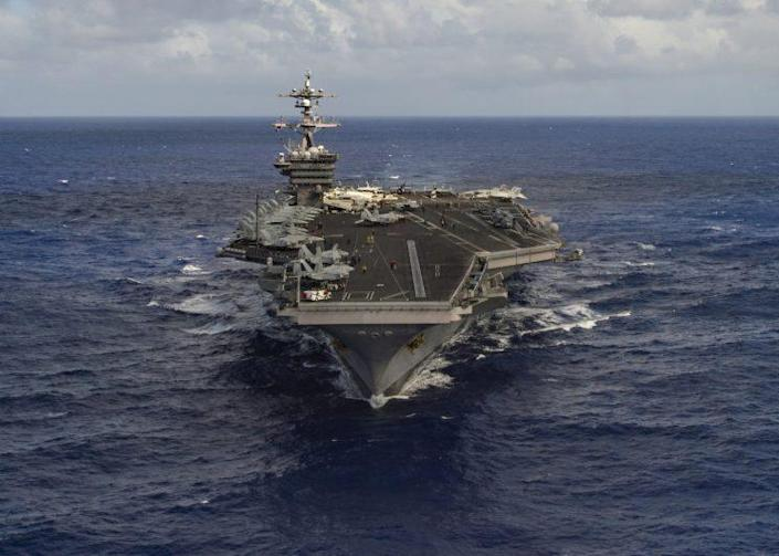The aircraft carrier USS Carl Vinson, one of the vessels deployed to the Korean Peninsula. (Handout via Reuters)