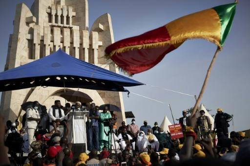 The protest movement is headed by Imam Mahmoud Dicko, seen here speaking to a rally in Bamako's Independance Square on June 19