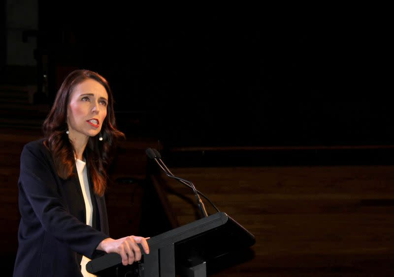 FILE PHOTO: Prime Minister Jacinda Ardern addresses supporters at a Labour Party event in Wellington