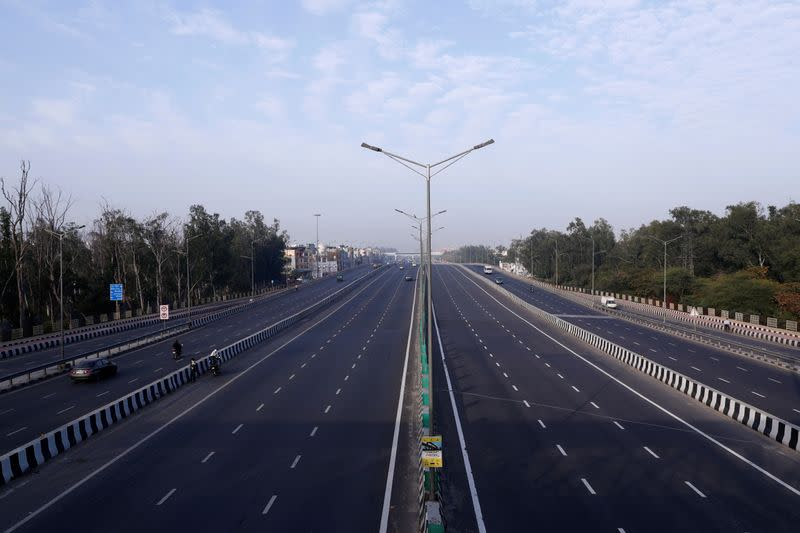 A general view shows an almost empty highway during lockdown by the authorities to limit the spreading of coronavirus disease (COVID-19), in New Delhi