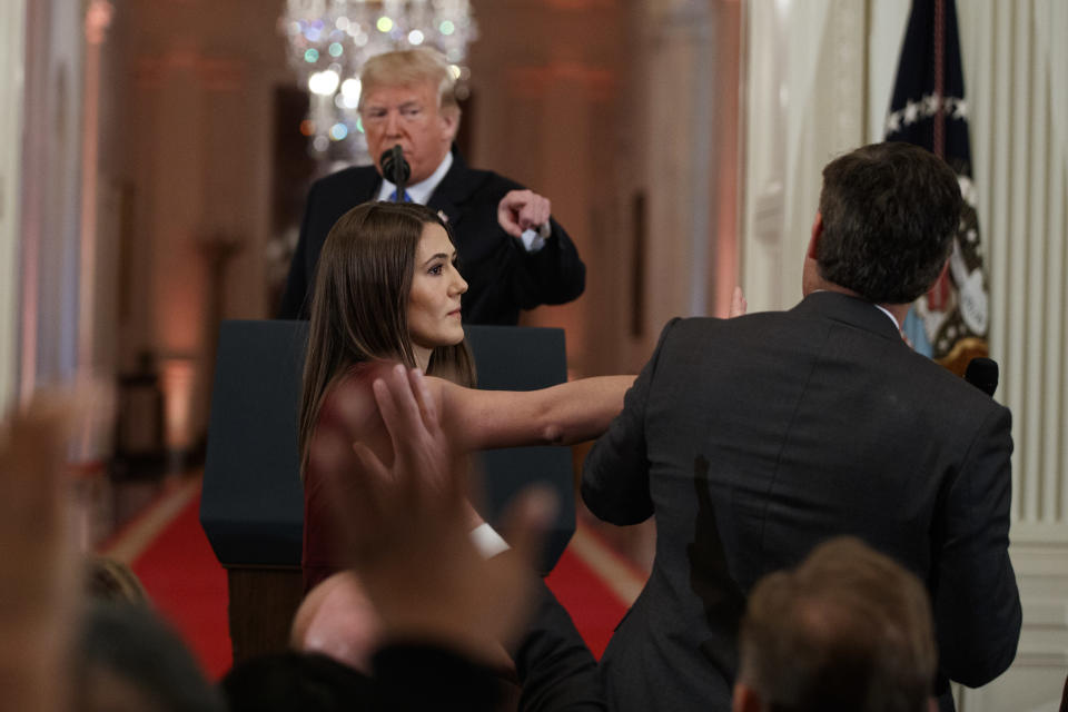 <em>A tense exchange followed the incident where Acosta refused to let go of the microphone (AP)</em>