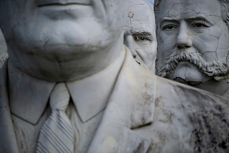 Decaying busts of former US Presidents are seen August 25, 2019, in Williamsburg, Virginia. (Photo: Brendan Smialowski/AFP/Getty Images)